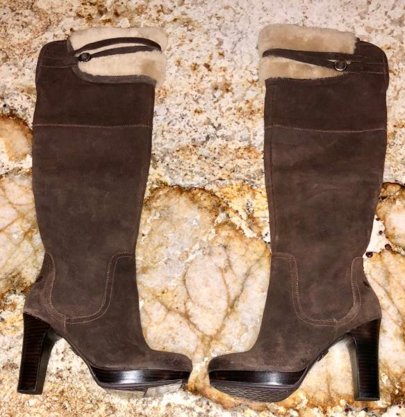 390ce9c1d82 UGG Ophira Shearling Trim Java Brown High Heel Suede Boots NEW ...