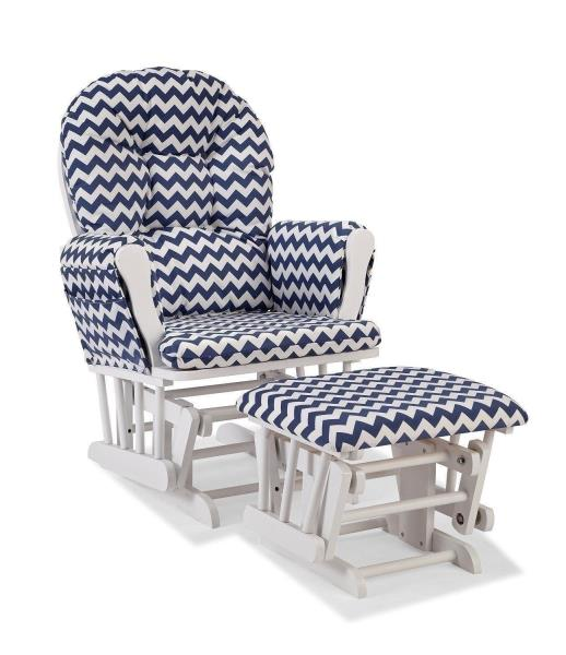 new arrivals f5536 5e6e5 Details about Nursery Glider Ottoman Set White Wooden Navy Blue Chevron  Cushions Baby Rocker