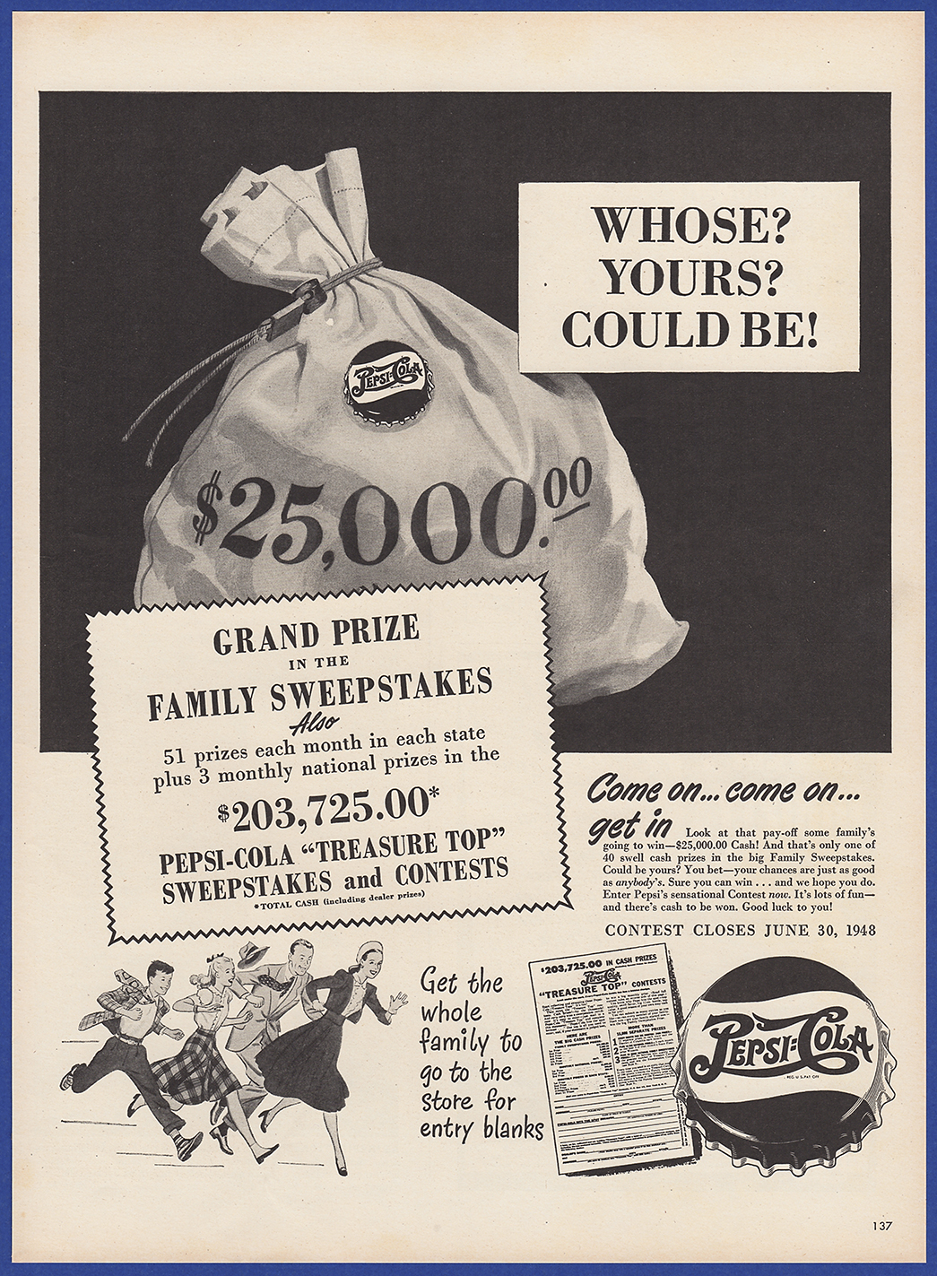 Details about Vintage 1948 PEPSI-COLA Pepsi Soda Pop Sweepstakes Contest  Cola Print Ad