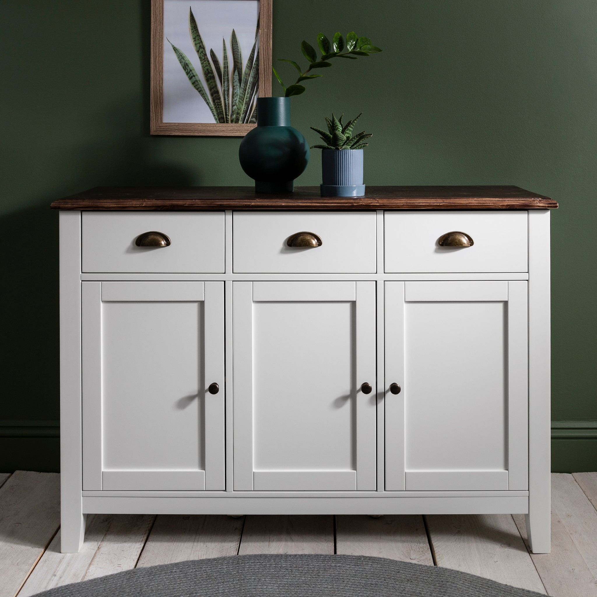 Chatsworth 3 Piece Traditional White Suite: Chatsworth 3 Drawer Sideboard Buffet White Grey Wooden