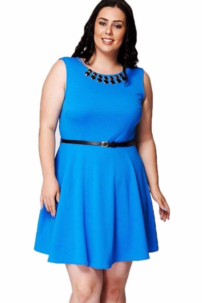 the cheapest structural disablities fresh styles Details about Plus Size Ladies New Look Blue Skater Dresses Textured Smart  Dress