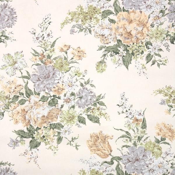 4cd745055501e Details about 1960s Vintage Floral Wallpaper with Large Flower Bouquets  Gray Peach and Green