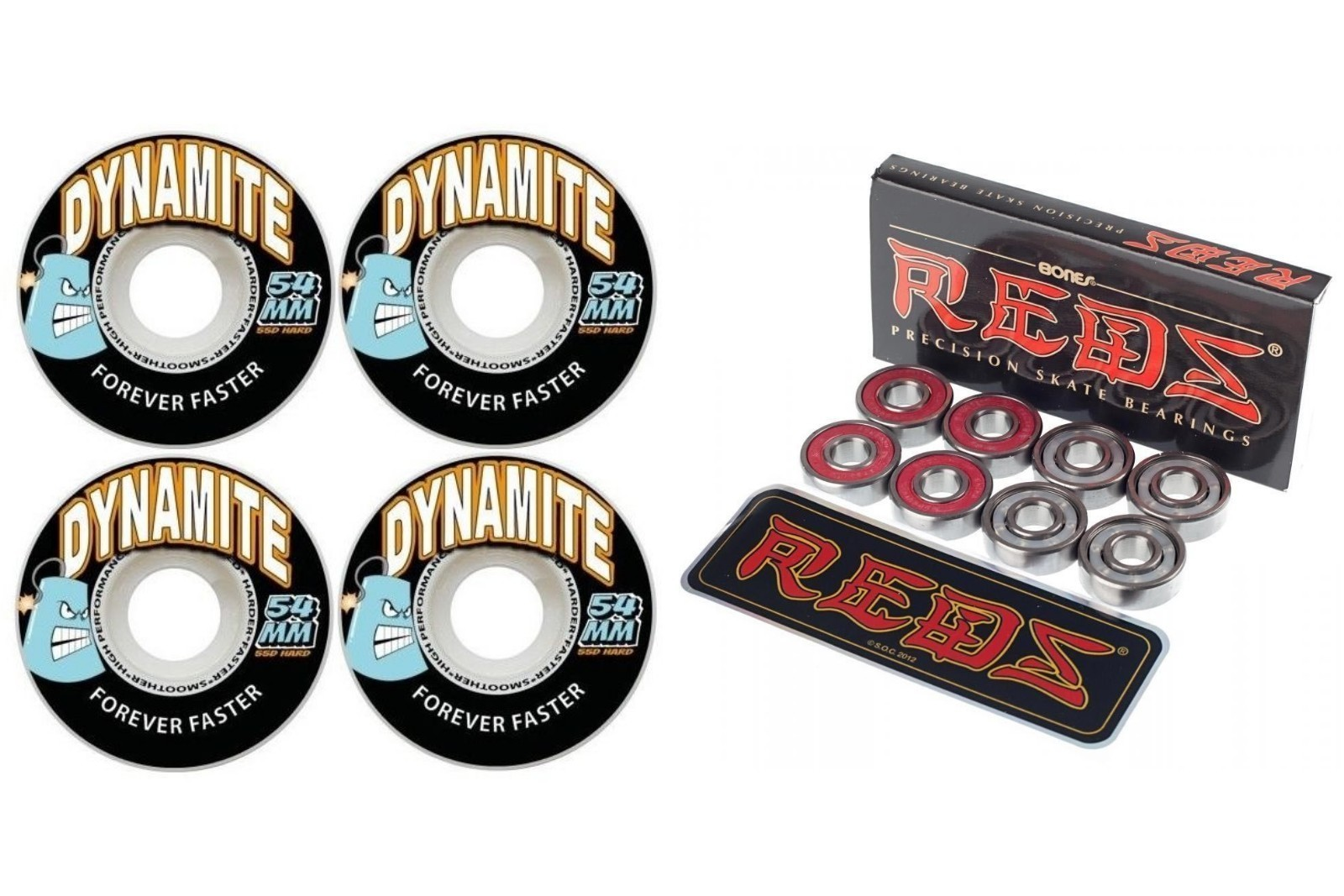 Dynamite Forever Skateboard Wheels 54mm With Bones Reds Bearings FREE POST