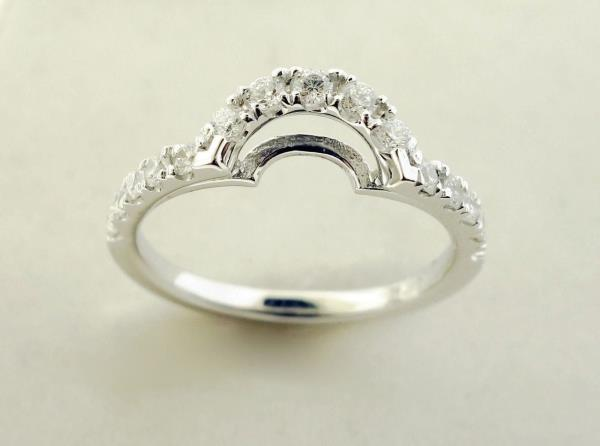 Details About Curved Diamond Wedding Band Ring 0 44 Ctw Round Cut 14k White Gold Ring Gaurd