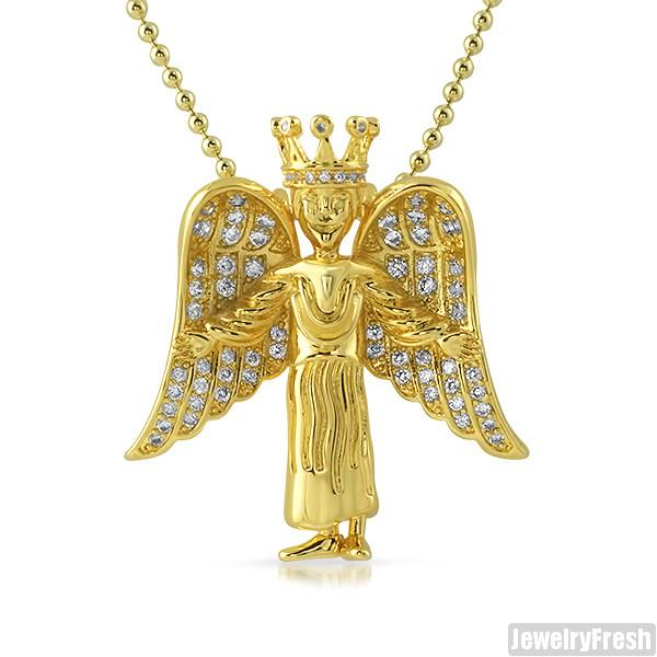 Gold Iced Out Mini Queen Nefertiti Tupac Pendant Chain