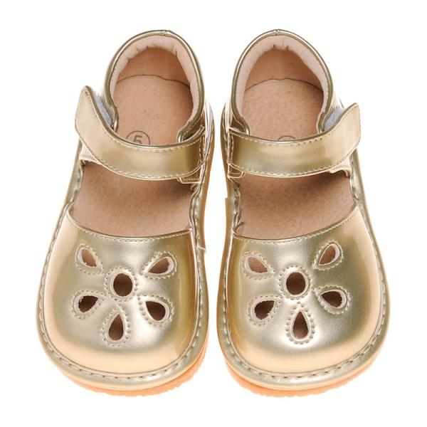 e1eb5a6cf11 Girl s Leather Toddler Gold Petal Patent Style Squeaky Shoes Size 7 ...