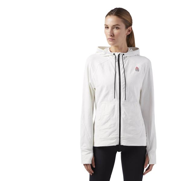 Details about [BQ7407] New Women's REEBOK RCF Crossfit Jacquard Full Zip Hoodie Chalk