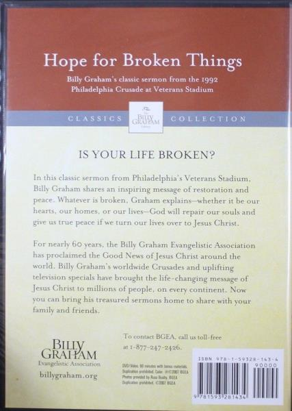 Details about Hope for Broken Things Billy Graham Classic Sermon 1992 NEW  Christian DVD