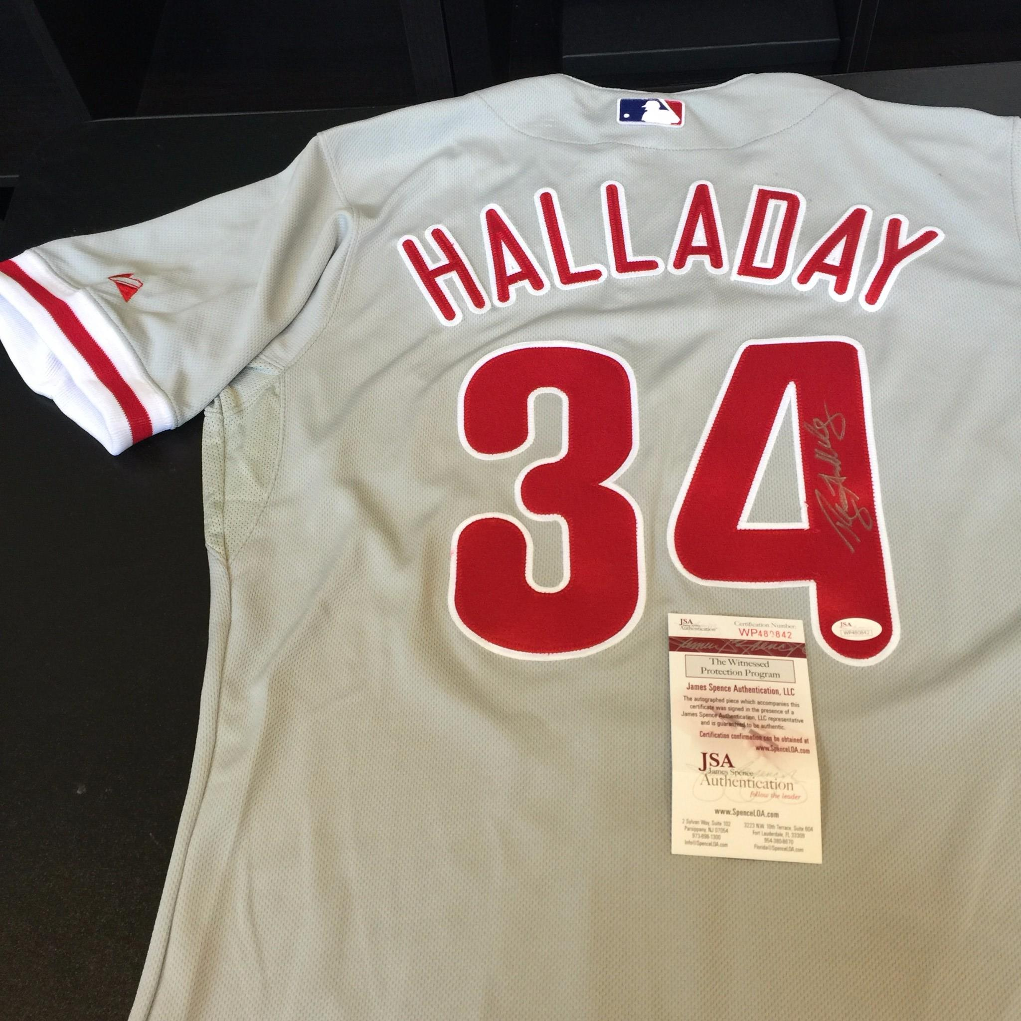 innovative design 57e98 45555 Details about Roy Halladay Signed Authentic Philadelphia Phillies Game  Model Jersey JSA COA