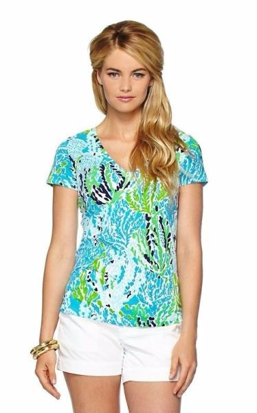 4f4a2e4b734cb9 New Lilly Pulitzer MICHELE V-Neck Top T-Shirt Let's Cha Cha Short ...