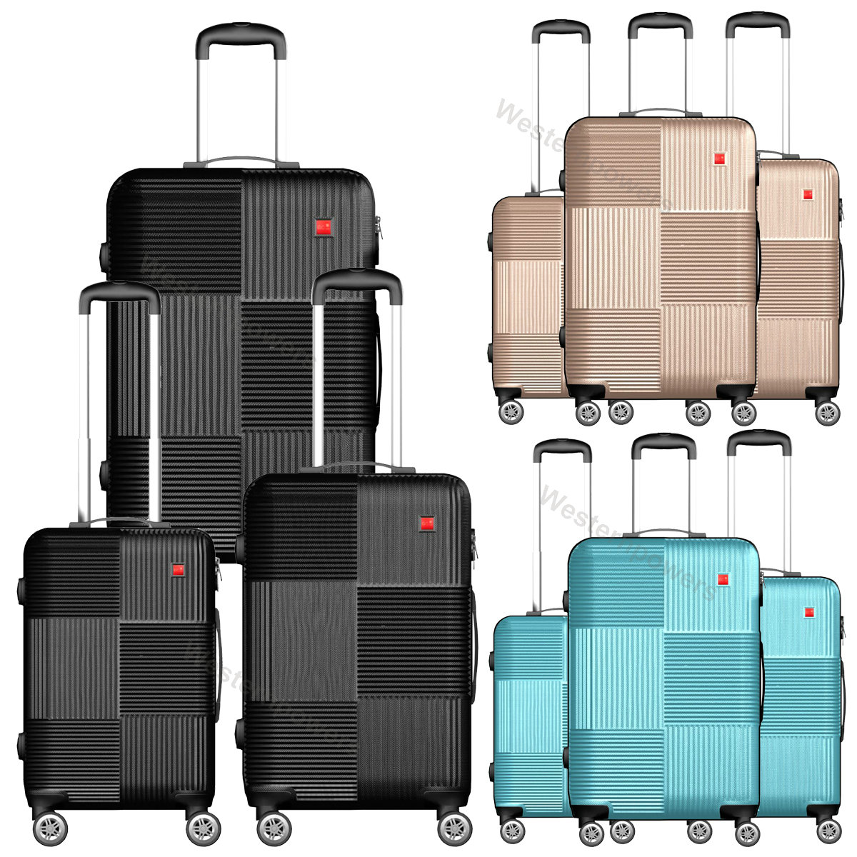 40d8775f3836 Details about 3-Piece Hardside Luggage Set with Spinner Wheels Lightweight  20'' 24'' 28''