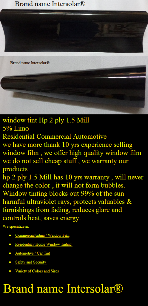 5 Charcoal Black Limo 72 Quot X100 Window Tint Film Hp 2ply