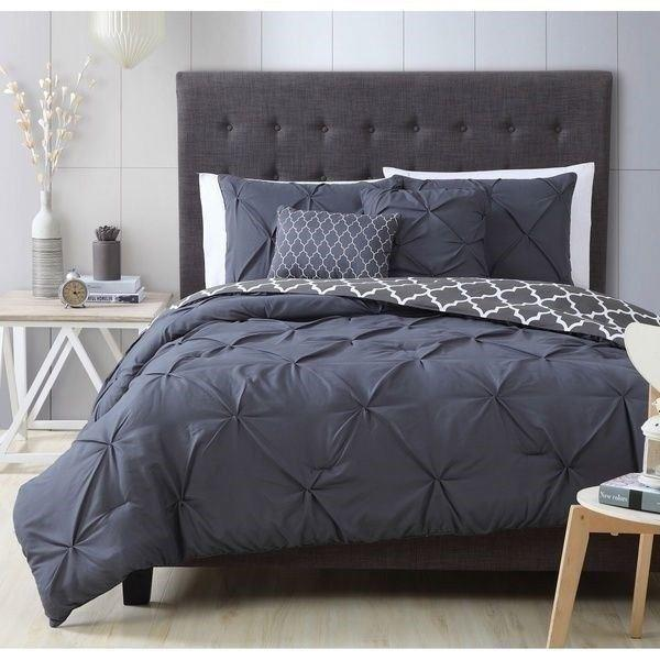 Queen King Bed Charcoal Gray White Pinch Pleat Pintuck 5pc Comforter