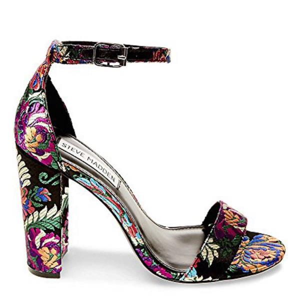 7917ad4e6f65 Steve Madden Women s Carrson Multi Floral Two Peice Thick High Heel ...