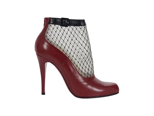 buy online d55d5 0ff9d Details about Red Christian Louboutin Leather Fishnet Ankle Boots