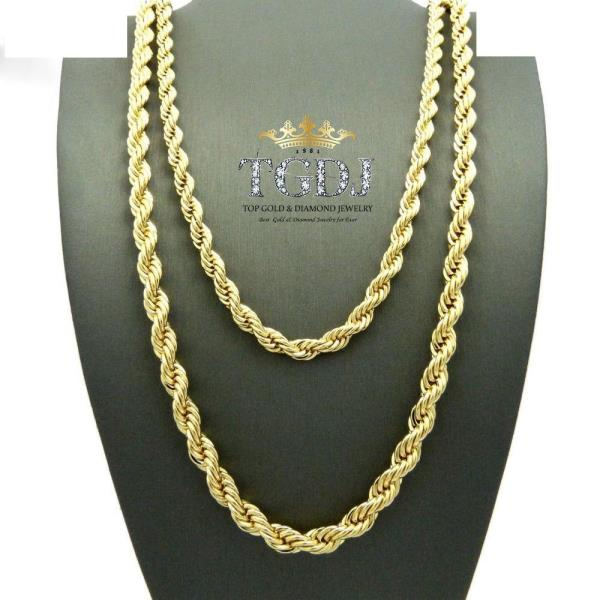 """10K Yellow Gold 5mm Thick Rope Link Chain Necklace 20/"""""""