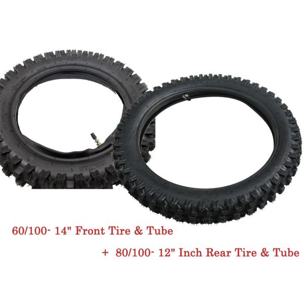 """Tube PIT Dirt Bike 60//100-14/"""" Front 80//100-12/"""" Inch Rear Knobby Tyre Tire"""