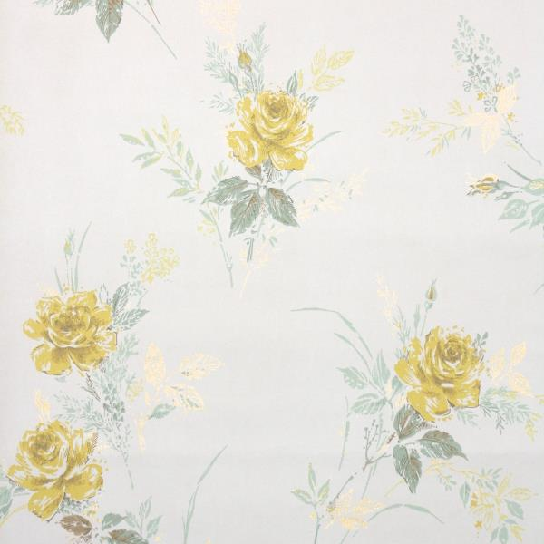 Details About 1950s Vintage Floral Wallpaper Yellow Roses On White
