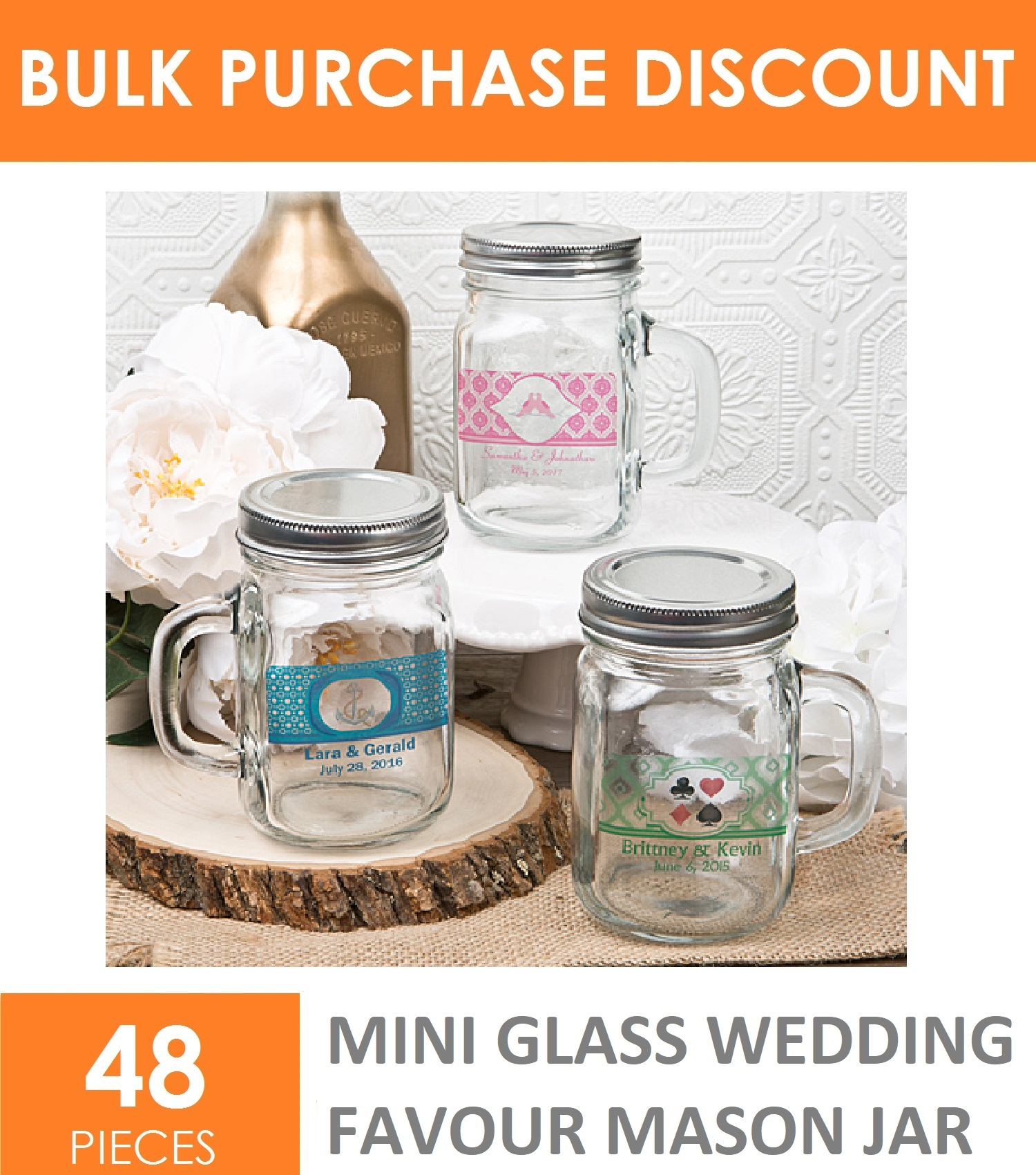 48 x Small Mini 120ml Mason Glass Jars Bottle Wedding Favours Lolly ...