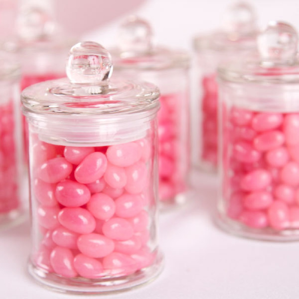 36 x SMALL 370ml Glass Apothecary Jar - Wedding Favour Wax Candle ...