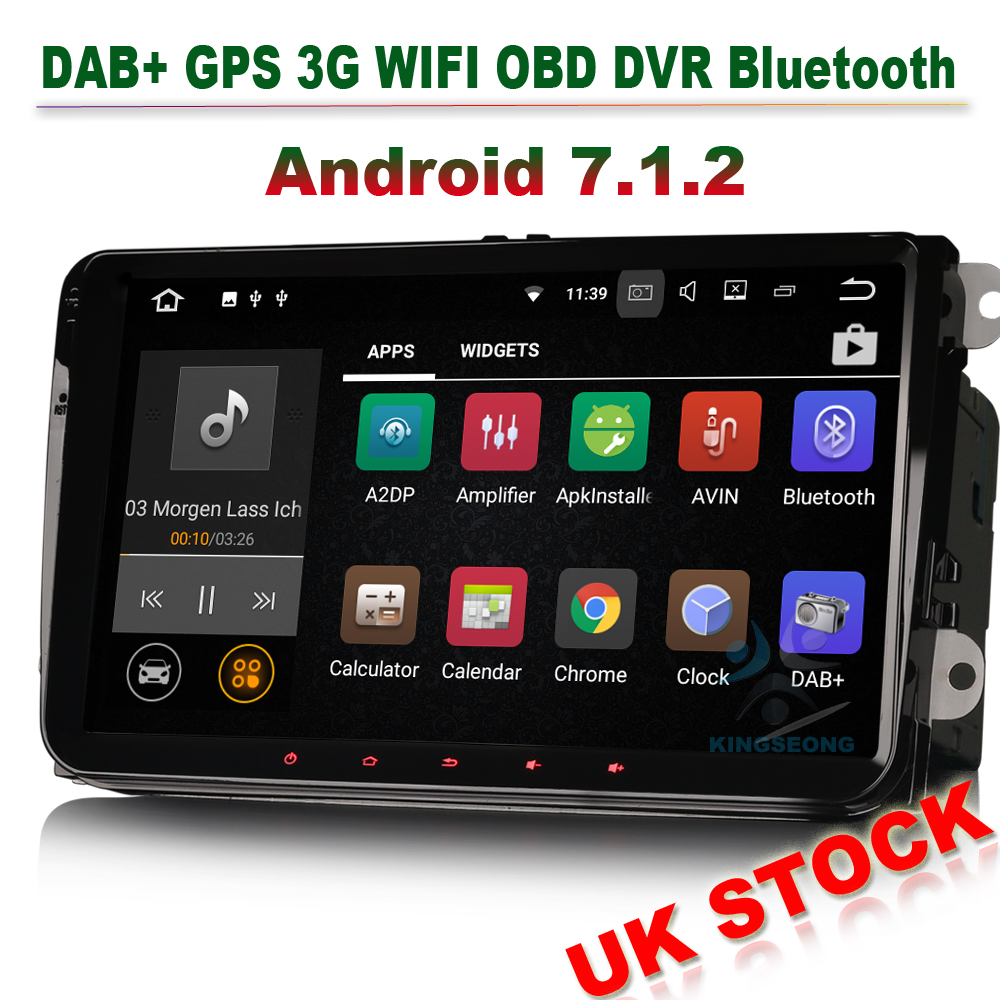 9 android 7 1 dab autoradio gps vw golf passat touran. Black Bedroom Furniture Sets. Home Design Ideas