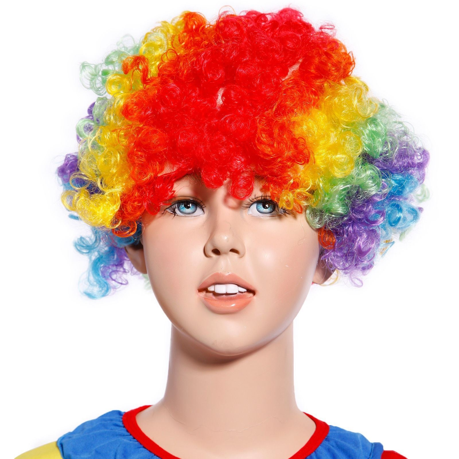 Details about 80s Curly Afro Wig Party Clown Funky Disco Kids Childs Adult  Costume Rainbow 69d85e57605a