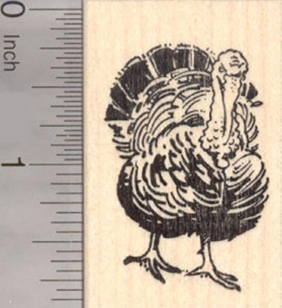 Thanksgiving Turkey Rubber Wood Mounted Stamp Janet Cleand All Night Media New