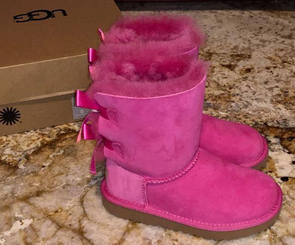 9401aac931e UGG AUSTRALIA Bailey Bow II Fuch Pink Suede Boots NEW Toddler Little ...