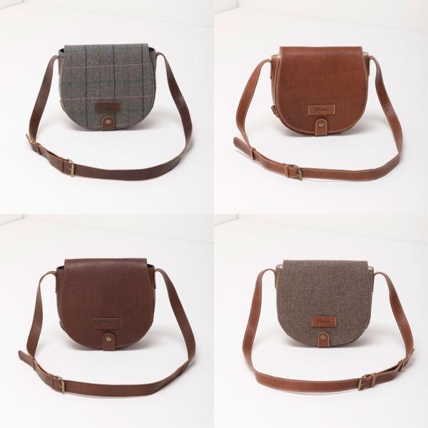 Tan Leather and Tweed Saddle Handbag satchel cross body bag