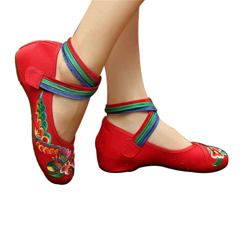Details about Chinese Embroidered Floral Shoes Women Ballerina Mary Jane  Flat Ballet Cotton Lo