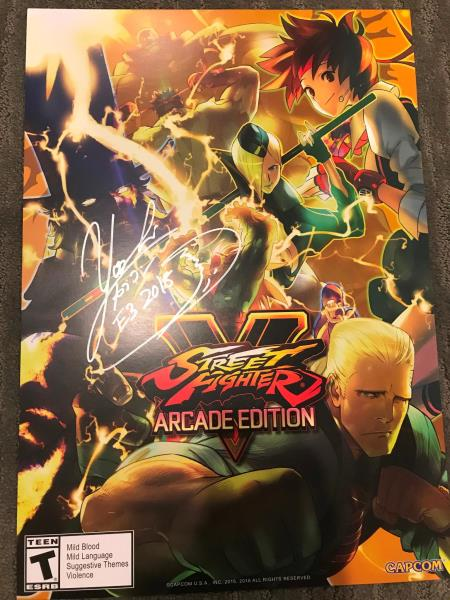 Details about 2018 E3 Street Fighter V Arcade Edition Poster SIGNED BY  YOSHINORI ONO