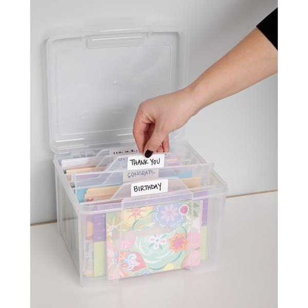 Greeting Card Craft Keeper Clear Storage Box Organizer Photo Holder