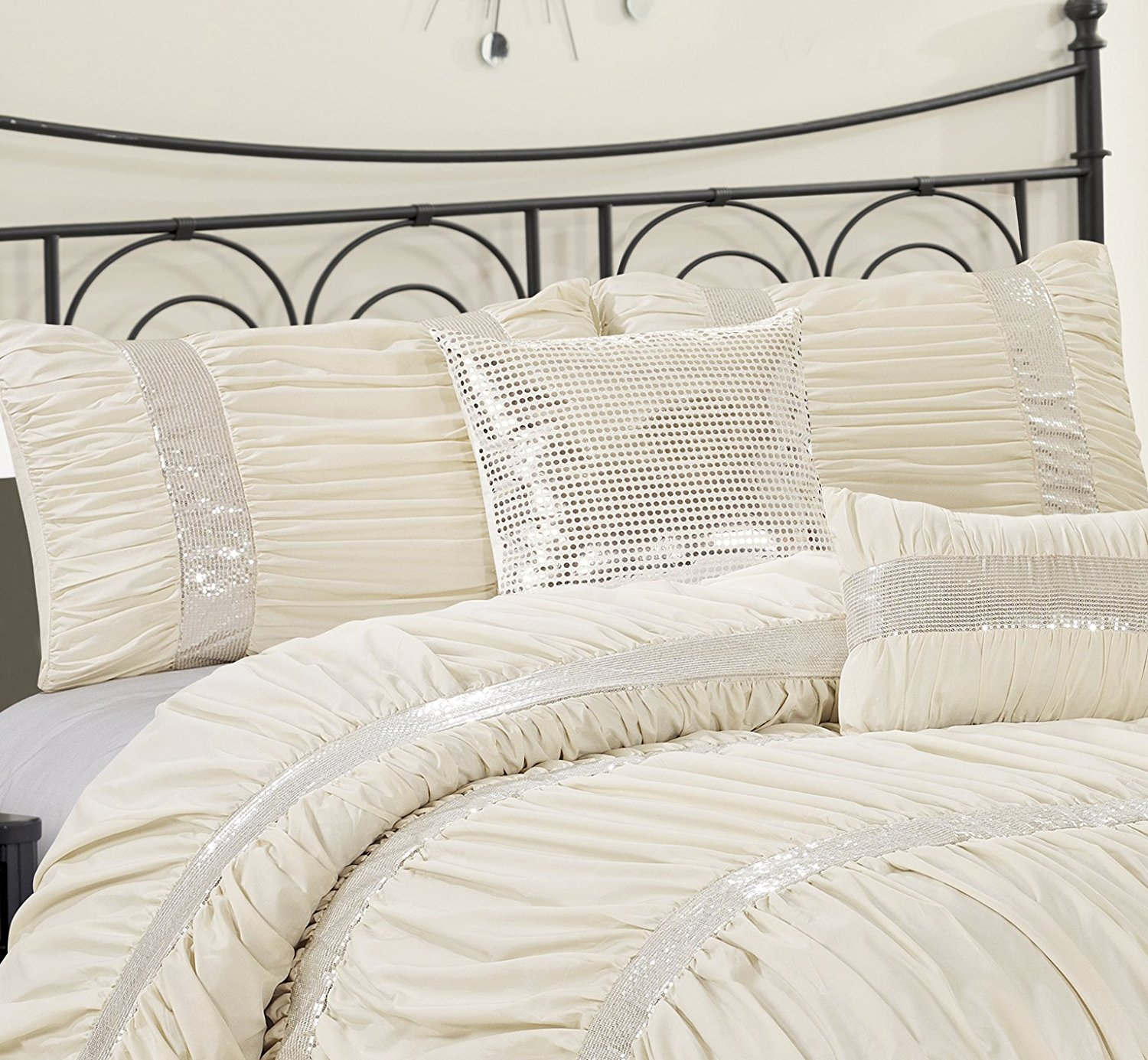 queen cal king bed ivory cream silver sequin striped 7 pc comforter set bedding - California King Bed Sheets