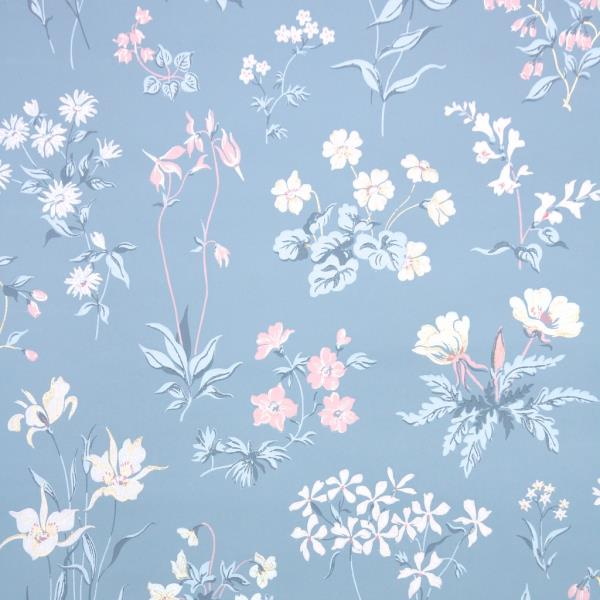 Details About 1950s Floral Vintage Wallpaper Blue And Pink Wildflowers On Blue