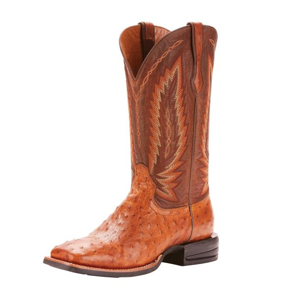 4a88be08e2a Ariat Men s Relentless Full Quill Ostrich Tan Square Toe Boots ...