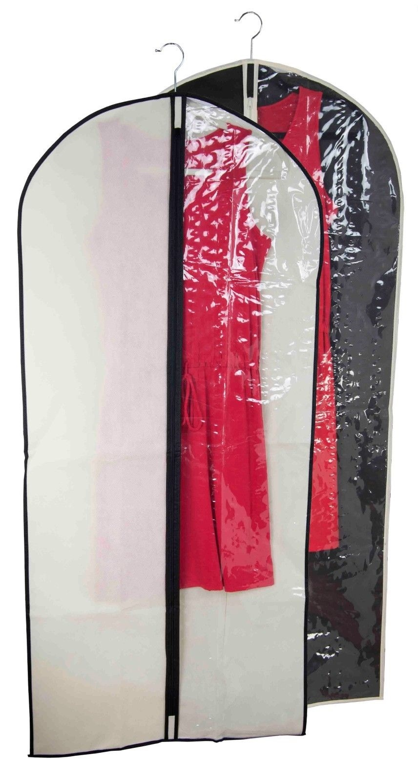 4fa247274bd2 Details about Sunbeam NEW Garment Dress Bag Clear Plastic Front Panel Black  or White - SB30314