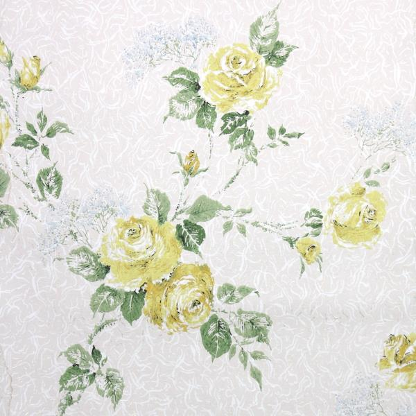 1950s Floral Vintage Wallpaper Yellow Roses And Blue Babys Breath