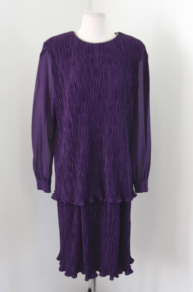 Vtg 80s 90s Patra Purple Crinkle Tiered Cocktail Evening Dress Size