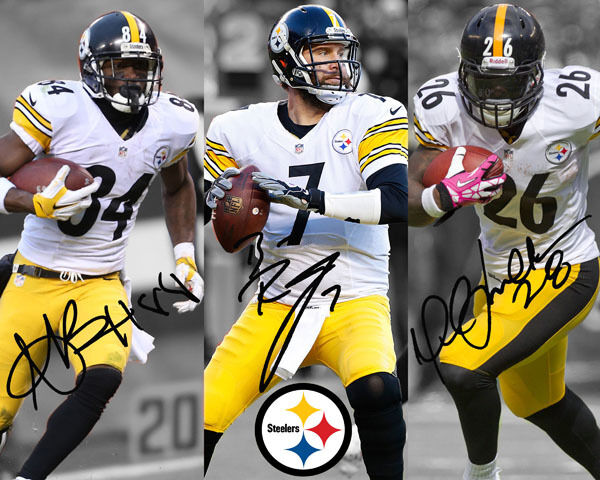 Ben Roethlisberger Le Veon Bell Antonio Brown Steelers Signed Autograph Reprint Ebay