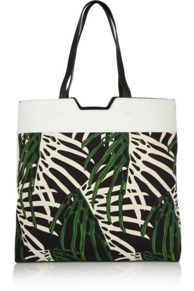 9eabdcdc5bce8f PROENZA SCHOULER Paper Bag Leather Paneled Tropical Canvas Printed Tote NEW