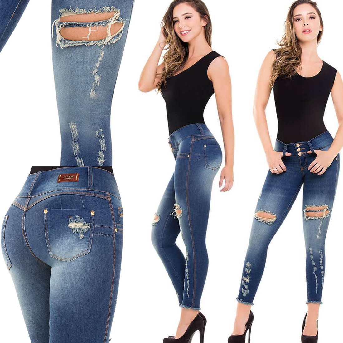 Colombian Push Up Jeans Skinny Fajas Blue Rip Butt Lifter Stretch Levanta Cola