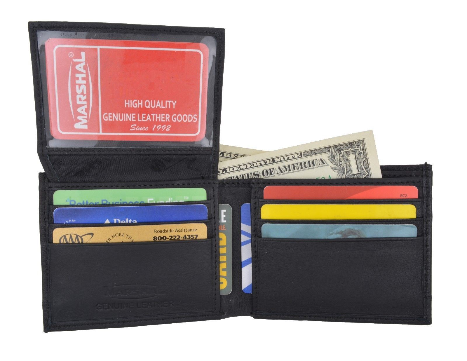 6abd2ae455d9 Details about Men's RFID Blocking Soft Leather Camo Bifold Wallet ID Window  Military Design