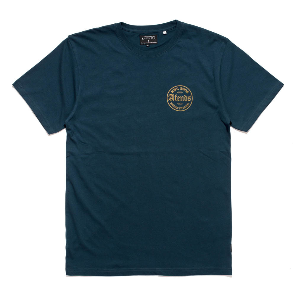 Afends Tee Deep Navy Standard Fit T-shirt skateboard surf Bmx Top