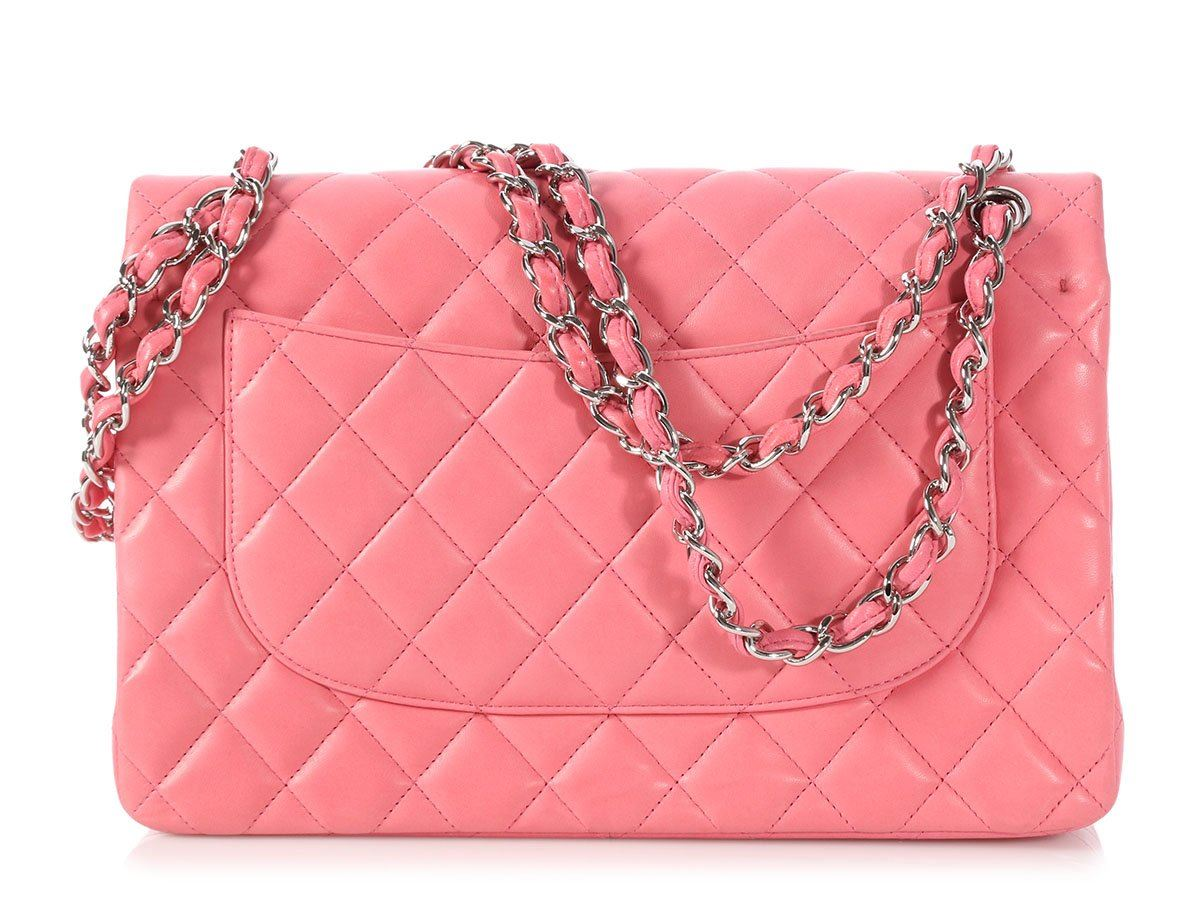626ff65b0b9fa9 CHANEL 2012 Jumbo Pink Quilted Lambskin Classic Double Flap Bag Purse