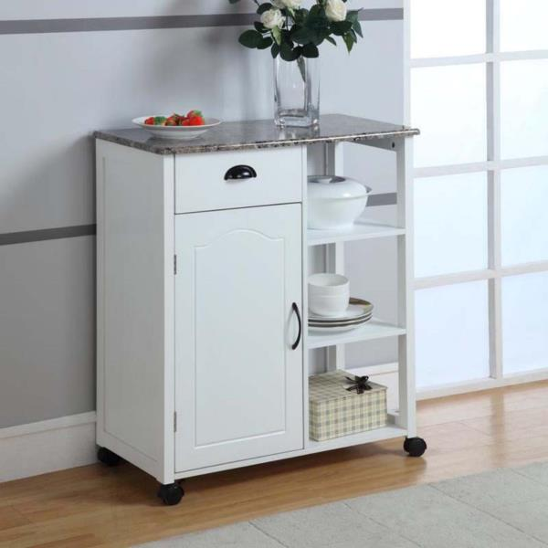 Details about White Wooden Kitchen Cart Rolling Storage Island Trolley  Utility Faux Marble Top