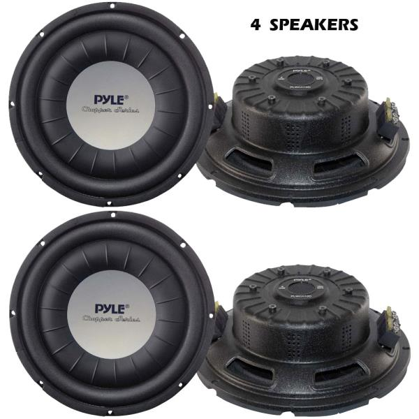 Details about New Lot of 4 Pyle PLWCH10D 10'' 1000 Watt Ultra Slim DVC  Subwoofers (4)