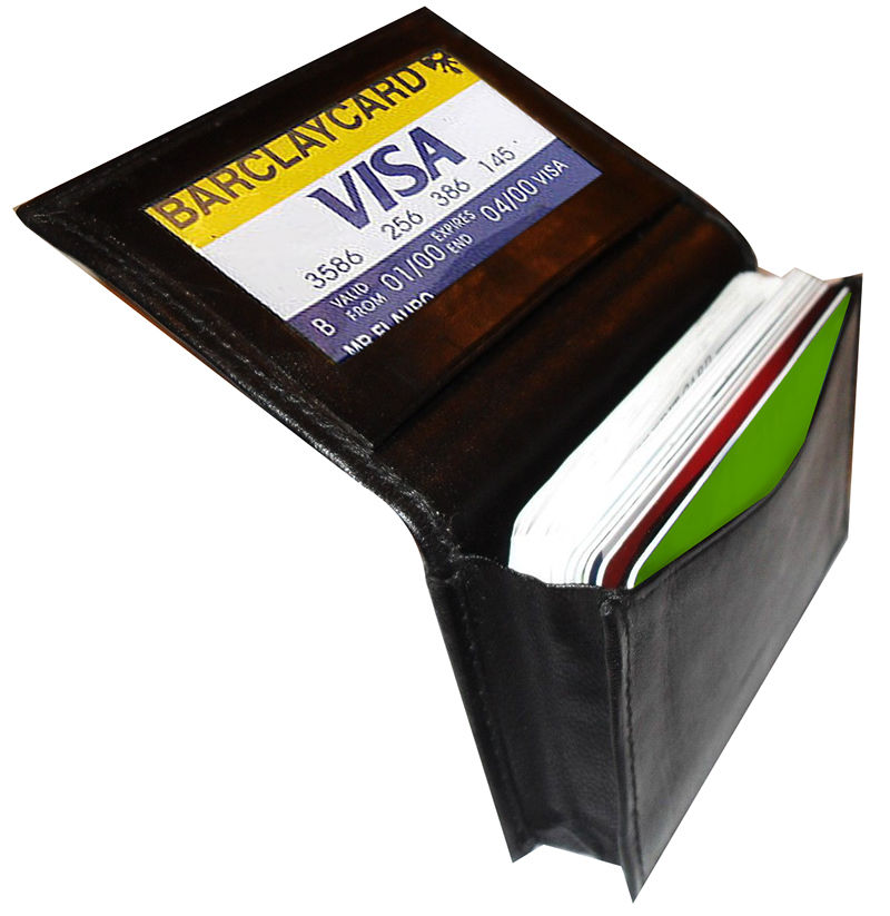 Black Genuine Leather Expandable 18+ Credit Card ID Business Card ...
