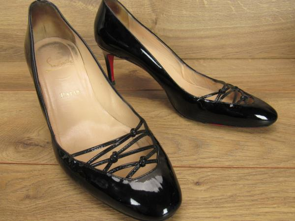 new concept 51bf8 84fa4 Details about Christian Louboutin Black Patent Leather Criss Cross Toe  Pumps 39.5 9.5