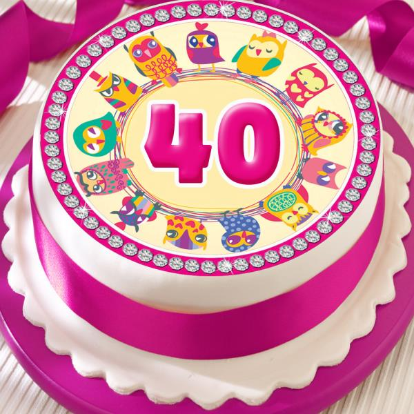 PINK OWL 40TH BIRTHDAY ANNIVERSARY BORDER 75 INCH PRECUT EDIBLE CAKE TOPPER