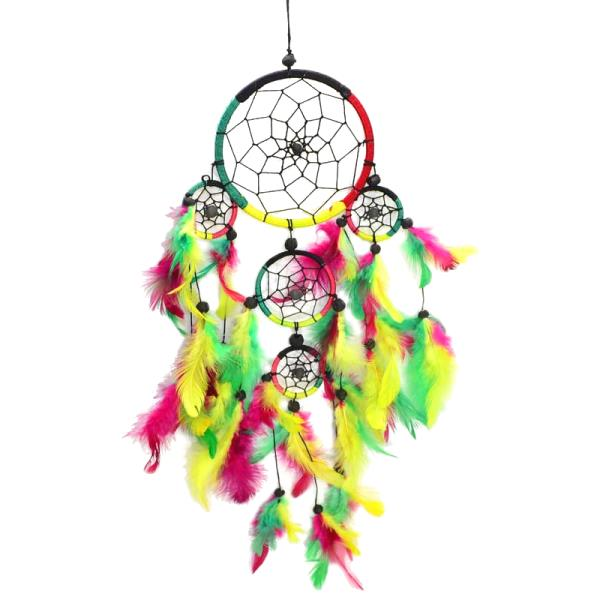Rastafari 5 Ring Rasta Reggae Jamaican Dream Catcher Feathers ...
